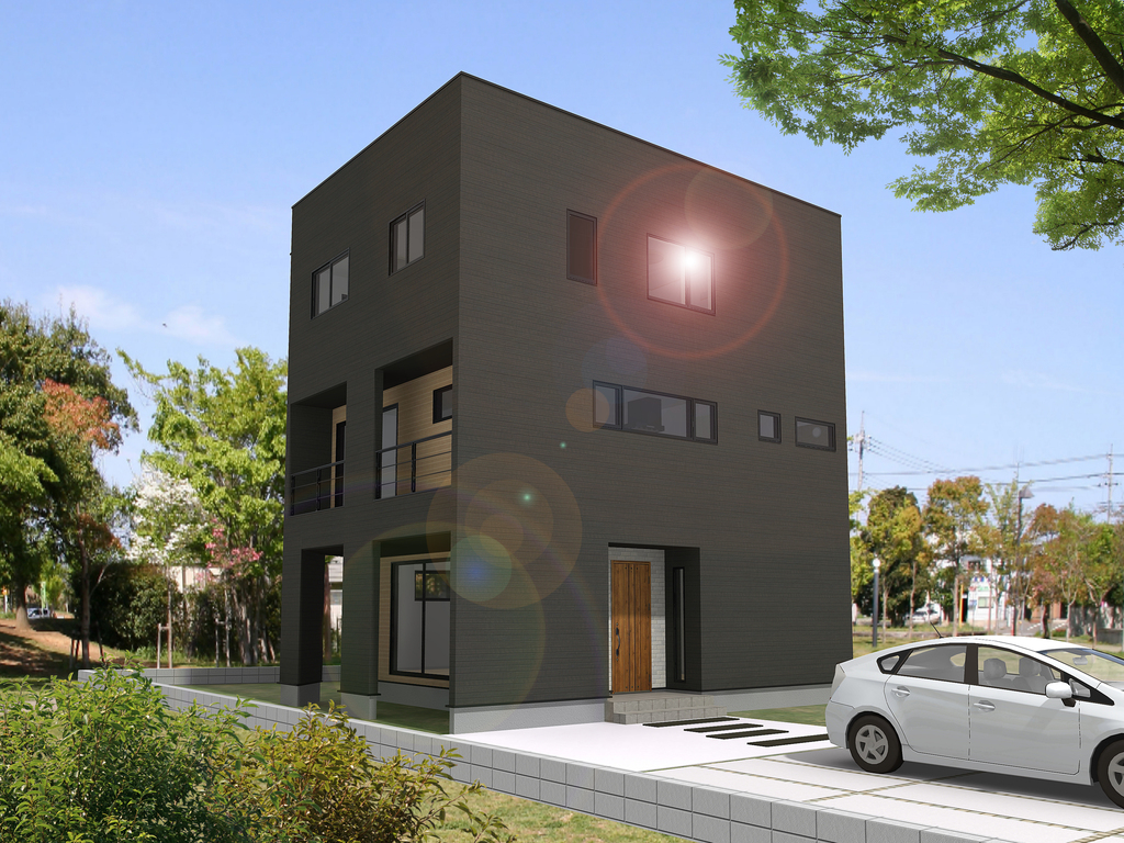 岡山市中区東山 23帖の広々2FLDKのある3階建ての住まい